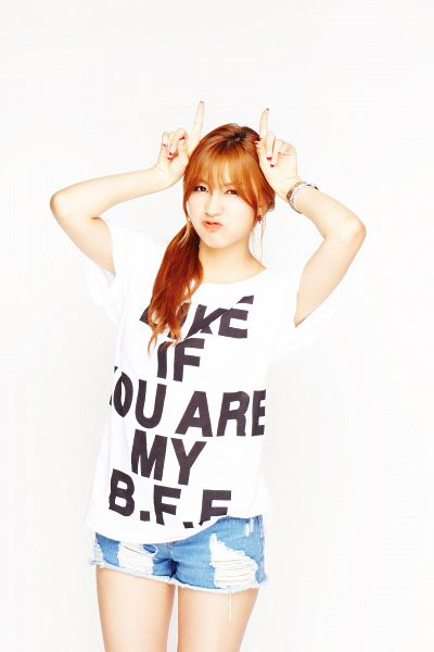 Tags: K-Pop, Apink, Oh Ha-young, White Background, Blue Shorts, Red Hair, English Text, Light Background, Android/iPhone Wallpaper