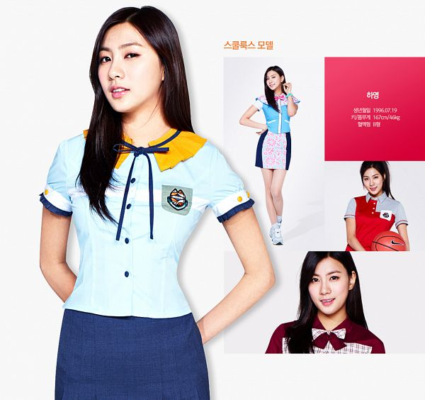 Tags: K-Pop, Apink, Oh Ha-young, Red Shirt, White Background, Blue Shirt, Hand On Hip, Korean Text, Red Neckwear, School Uniform, Multiple Persona, Black Skirt