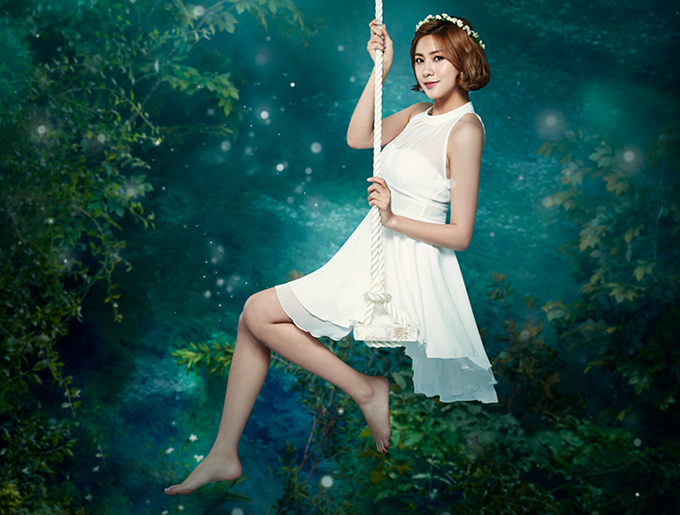 Tags: K-Pop, Apink, Oh Ha-young, Flower Crown, Swing, Medium Hair, Rope, Sleeveless, White Outfit, Crown, Plant, Barefoot