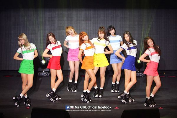 Tags: K-Pop, Oh My Girl, Yooa, Arin, Mimi, Binnie, JinE, Kim Jiho, Choi Hyojung, Hyun Seunghee, Roller Skates, Pink Skirt