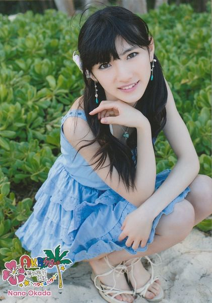 Tags: J-Pop, AKB48, Okada Nana, Shoes, Japanese Text, White Footwear, Necklace, Sandals, Feet, Bare Legs, Crouching, Hand In Hair