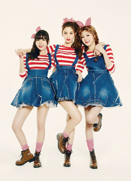 Tags: K-Pop, Orange Caramel, After School, My Copycat, Nana, Lizzy, Raina, White Background, Three Girls, Denim Dress, Bare Legs, Trio
