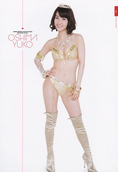 Tags: J-Pop, AKB48, Oshima Yuko, Boots, Sleeveless, High Heels, Cleavage, Hand On Hip, High Heeled Boots, Bracelet, Midriff, Tiara