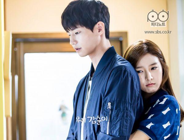 Tags: K-Drama, Kim So-eun, Song Jae-rim, Black Eyes, Couple, Blue Shirt, Hug From Behind, Hug, Duo, Short Sleeves, Our Gap-soon