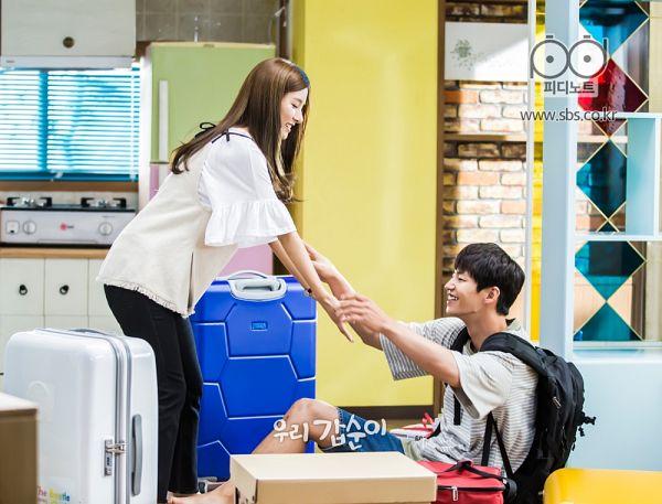 Tags: K-Drama, Song Jae-rim, Kim So-eun, Duo, Short Sleeves, Fridge, Striped Shirt, Kitchen, Striped, Backpack, Bag, Our Gap-soon