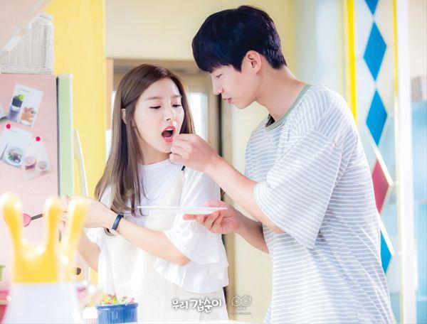 Tags: K-Drama, Kim So-eun, Song Jae-rim, Eating, Duo, Fridge, Short Sleeves, Kitchen, Striped Shirt, Cooking, Striped, Our Gap-soon