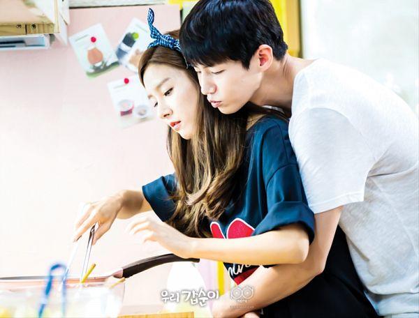 Tags: K-Drama, Kim So-eun, Song Jae-rim, Hug From Behind, Duo, Blue Shirt, Kitchen, Hug, Cooking, Couple, Our Gap-soon