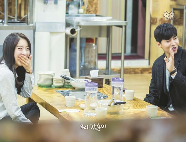 Tags: K-Drama, K-Pop, Dal Shabet, Ah Young, Song Jae-rim, Watch, Table, Wristwatch, Glass (Cup), Cup, Bent Knees, Duo