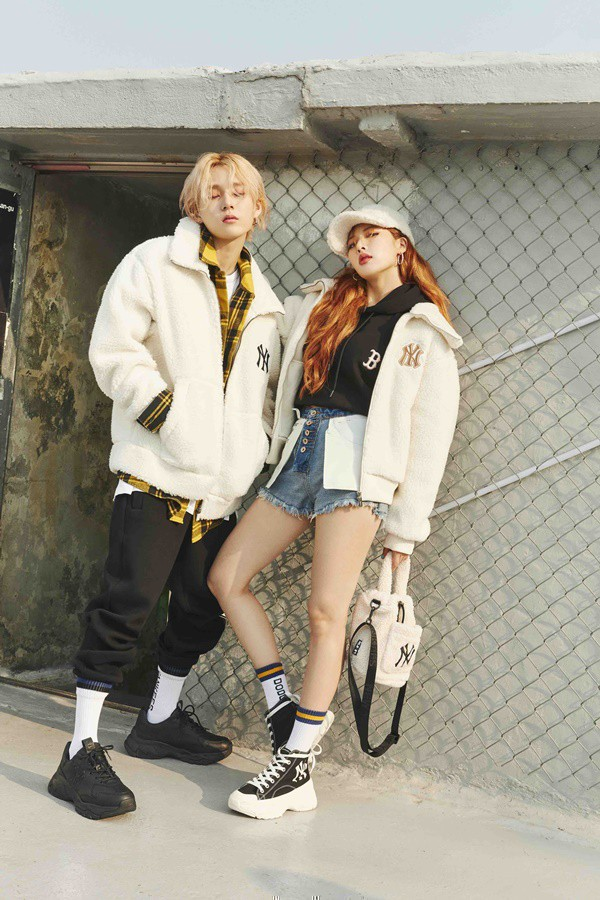 Tags: K-Pop, Hyuna, Dawn, Shoes, Checkered Shirt, Black Jacket, White Jacket, White Outerwear, Shorts, Sneakers, Couple, Hand In Pocket