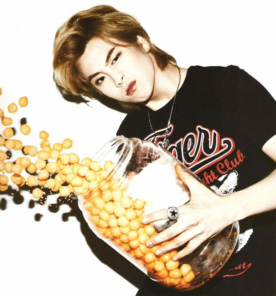 Tags: K-Pop, Block B, P.O, White Background, Ring, Short Sleeves, Necklace, Fries, Vegetables, Light Background