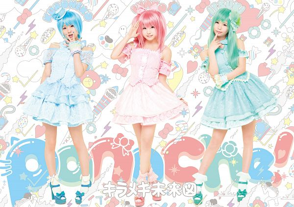 Tags: DefSTAR RECORDS, J-Pop, Panache, Kirameki Miraizu, Enako, Kuroneko, Itsuki Akira, Three Girls, High Heels, Green Outfit, Blue Hair, Pink Dress