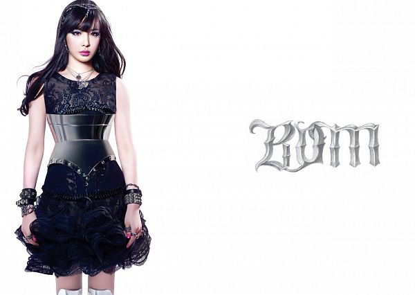 Tags: K-Pop, 2NE1, Park Bom, Necklace, Make Up, Black Dress, Text: Artist Name, Bracelet, Hairband, Black Outfit, Bare Legs, Light Background