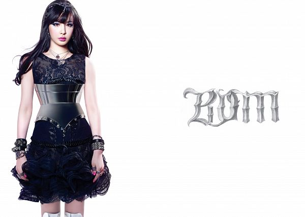 Tags: K-Pop, 2NE1, Park Bom, Light Background, White Background, Text: Artist Name, Necklace, Make Up, Ring, Hairband, Bracelet, Black Dress