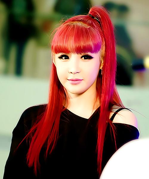 Tags: 2NE1, Park Bom, Ponytail, Red Hair, Blunt Bangs