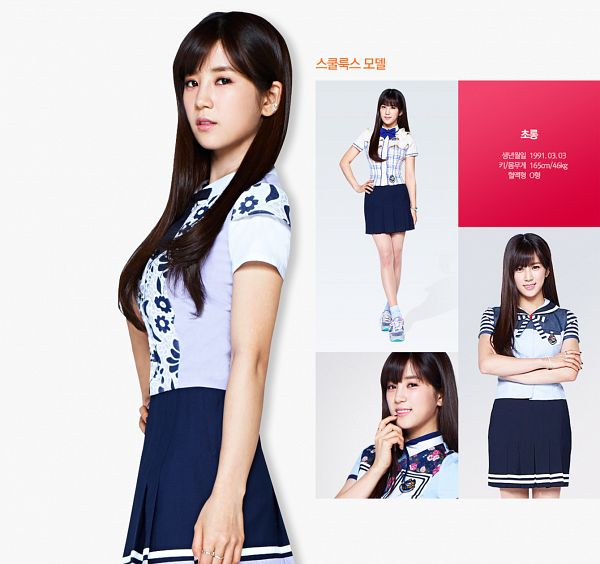 Tags: K-Pop, Apink, Park Cho-rong, Finger To Lips, Pleated Skirt, Multiple Persona, Black Skirt, Blue Shirt, Hand On Hip, Crossed Legs (Standing), School Uniform, Bare Legs