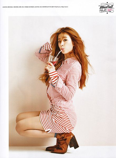 Tags: K-Pop, Apink, Park Cho-rong, Striped Dress, Drinks, Wavy Hair, Cup, Striped, Red Hair, Drinking, Arm Support, Crouching
