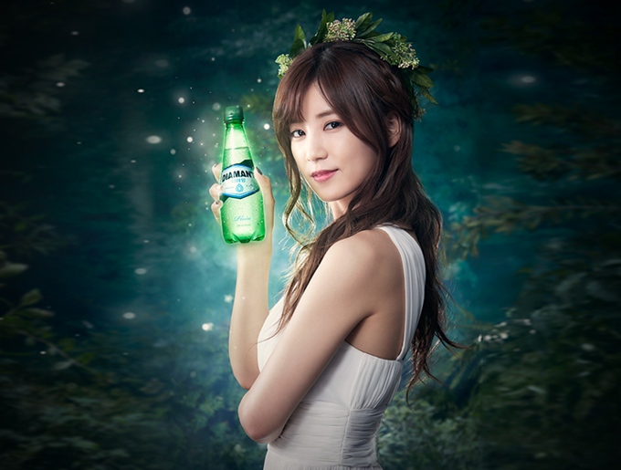 Tags: K-Pop, Apink, Park Cho-rong, White Dress, Bare Shoulders, Flower Crown, Sleeveless, Bottle, Crown, Flower, Plant, White Outfit