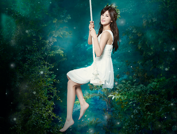 Tags: K-Pop, Apink, Park Cho-rong, Barefoot, Bare Shoulders, White Dress, White Outfit, Swing, Sleeveless, Bent Knees, Rope, Plant