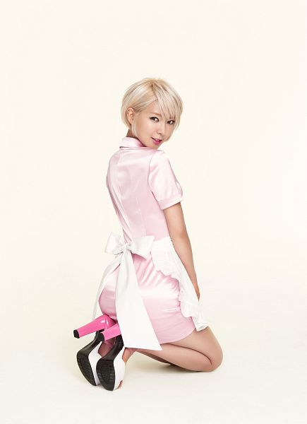Tags: K-Pop, AOA (Ace Of Angels), Park Choa, High Heels, Apron, Pink Outfit, Pink Dress, Pink Footwear, Suggestive, Sexy Pose, Maid Outfit, Kneeling