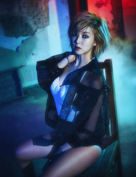Tags: K-Pop, AOA (Ace Of Angels), Park Choa, Bracelet, Red Lips, Sitting, Chair, Sitting On Chair, Bent Knees, Jacket, Black Jacket, Necklace