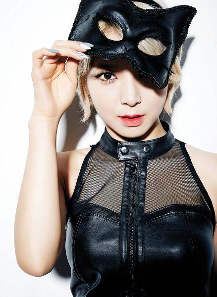 Tags: K-Pop, AOA (Ace Of Angels), Like A Cat, Park Choa, Make Up, Sleeveless Shirt, Animal Ears, Covering Eyes, Headdress, Bare Shoulders, Nail Polish, Leather Shirt