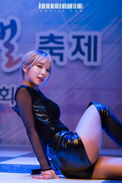 Tags: K-Pop, AOA (Ace Of Angels), Park Choa, Black Footwear, Blue Background, Sitting On Ground, Boots, Black Shorts, Suggestive, Nail Polish, Butt, Bare Legs