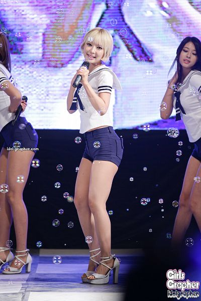 Tags: K-Pop, AOA (Ace Of Angels), Kim Seolhyun, Park Choa, Shoes, Blue Neckwear, Collar (Clothes), Shorts, Bubbles, High Heels, Blue Shorts, Midriff