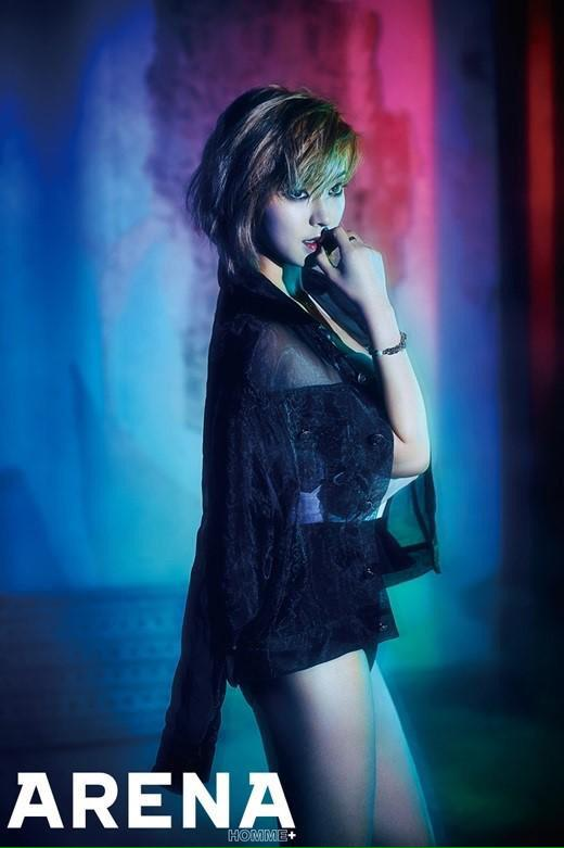 Tags: AOA (Ace Of Angels), Park Choa, Bare Legs, Black Outfit, Text: Magazine Name, Finger To Lips, Shorts, Black Shorts, Bracelet, Dark Background, Arena Homme, Magazine Scan