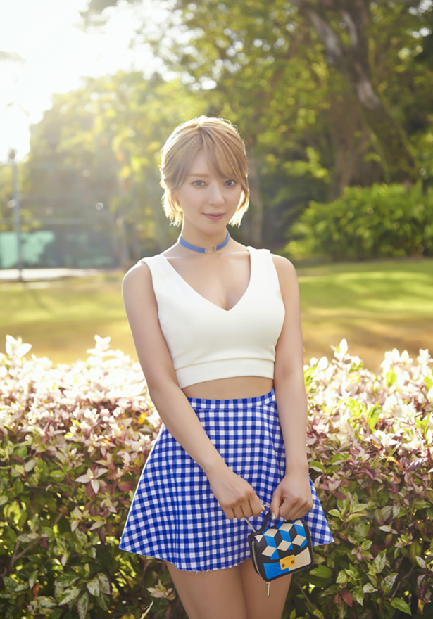 Tags: K-Pop, AOA (Ace Of Angels), Good Luck (Song), Park Choa, White Skirt, Suggestive, Choker, Cleavage, Checkered, Blue Skirt, Midriff, Checkered Skirt