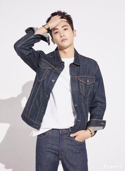 Tags: K-Pop, ZE:A, Park Hyungsik, Blue Outerwear, Hand In Pocket, Text: Magazine Name, Watch, Jeans, Shadow, Hand In Hair, Blue Jacket, Light Background