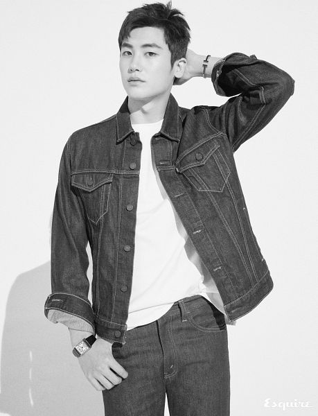 Tags: K-Pop, ZE:A, Park Hyungsik, White Background, Monochrome, Watch, Jeans, Denim Jacket, Hand In Hair, Bracelet, Text: Magazine Name, Light Background