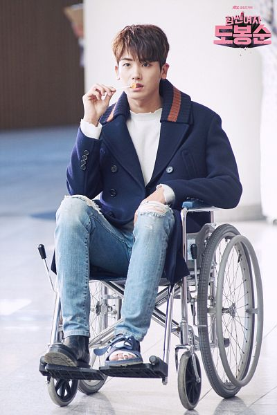 Tags: K-Pop, K-Drama, ZE:A, Park Hyungsik, Blue Pants, Wheelchair, Jeans, Chair, Lollipop, Ripped Pants, Serious, Sitting On Chair