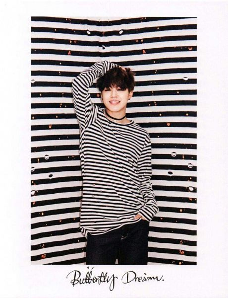 Tags: K-Pop, BTS, Park Jimin, Striped, Black Pants, Hand In Pocket, One Arm Up, Striped Background, Choker, Striped Shirt