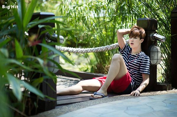 Tags: K-Pop, BTS, Park Jimin, Striped Shirt, Shorts, Black Eyes, Sitting On Ground, Red Shorts, Striped, BTS 2015 Summer Package