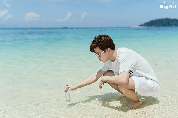 Tags: K-Pop, BTS, Park Jimin, Shorts, White Shorts, Sea, In Water, Bottle, Side View, Outdoors, Black Eyes, Glasses