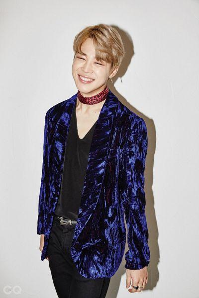 Tags: K-Pop, BTS, Park Jimin, Shadow, Grin, Choker, Eyes Closed, GQ Korea, Magazine Scan