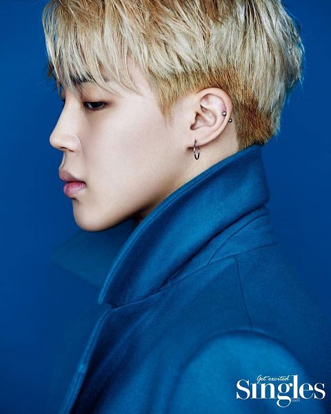 Tags: K-Pop, BTS, Park Jimin, Blonde Hair, Blue Outerwear, Black Eyes, Side View, Coat, Blue Background, Looking Down, Magazine Scan, Singles