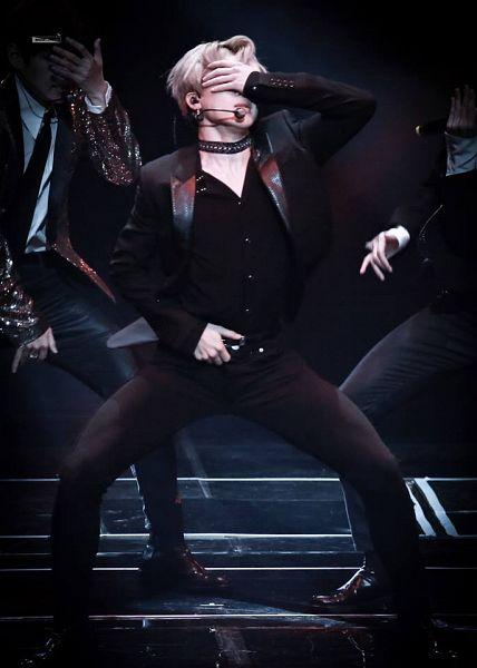 Tags: K-Pop, BTS, Blood Sweat & Tears, Park Jimin, Dancing, Choker, Stage, Black Pants, Covering Eyes, Singing, Earbuds, Black Jacket