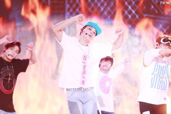 Tags: K-Pop, BTS, Park Jimin, Dancing, Necklace, Singing, Red Hair, Earbuds, Hat, Blue Headwear, Fire