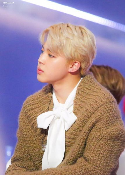 Tags: K-Pop, BTS, Park Jimin, Sweater, Contact Lenses, Bow, White Bow, Earbuds, Brown Shirt, White Neckwear