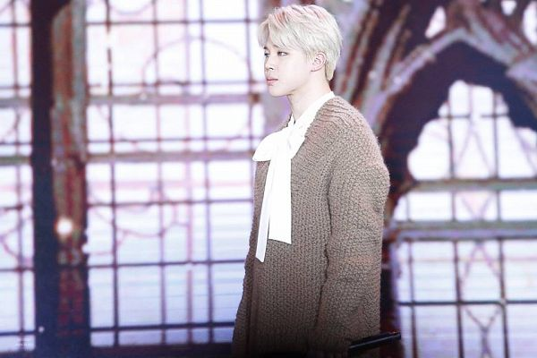 Tags: K-Pop, BTS, Park Jimin, White Neckwear, Brown Shirt, Stage, Sweater, Contact Lenses, Bow, White Bow