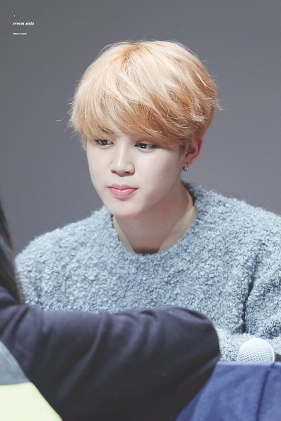 Tags: K-Pop, BTS, Park Jimin, Sweater, Blue Shirt, Looking Down, Looking At Another, Gray Background, Blonde Hair, Android/iPhone Wallpaper, Fansigning Event