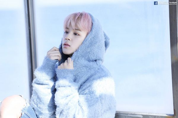Tags: K-Pop, BTS, Park Jimin, Hood, Serious, Black Eyes, Bus Stop, Hood Up, Looking Ahead, Coat, Blue Jacket, Fur