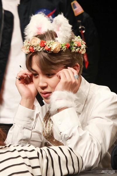 Tags: K-Pop, BTS, Park Jimin, Animal Ears, Ring, Fur, Crown, Fur Trim, Flower Crown, Flower, Hair Ornament, Fansigning Event