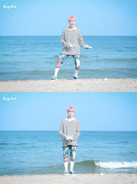 Tags: K-Pop, BTS, Spring Day, Park Jimin, Sea, Pink Hair, Water, Collage, Multiple Persona, Shoes, Blue Shorts, Socks