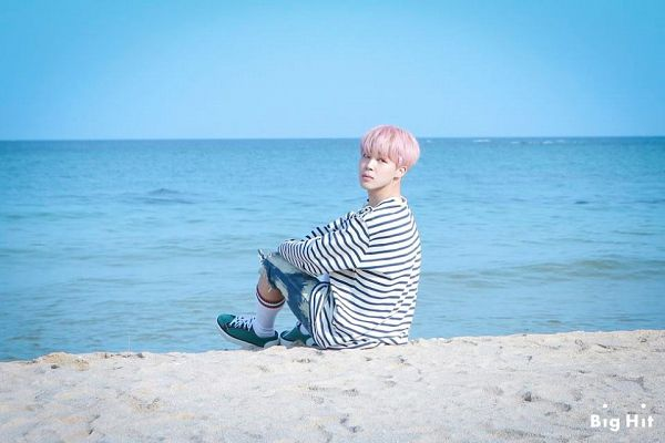 Tags: K-Pop, BTS, Spring Day, Park Jimin, Outdoors, Shorts, Striped, Sea, White Legwear, Striped Shirt, Denim Shorts, Beach