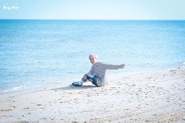 Tags: K-Pop, BTS, Spring Day, Park Jimin, Water, Shorts, Blue Shorts, Outdoors, Sea, Striped, Beach, White Legwear