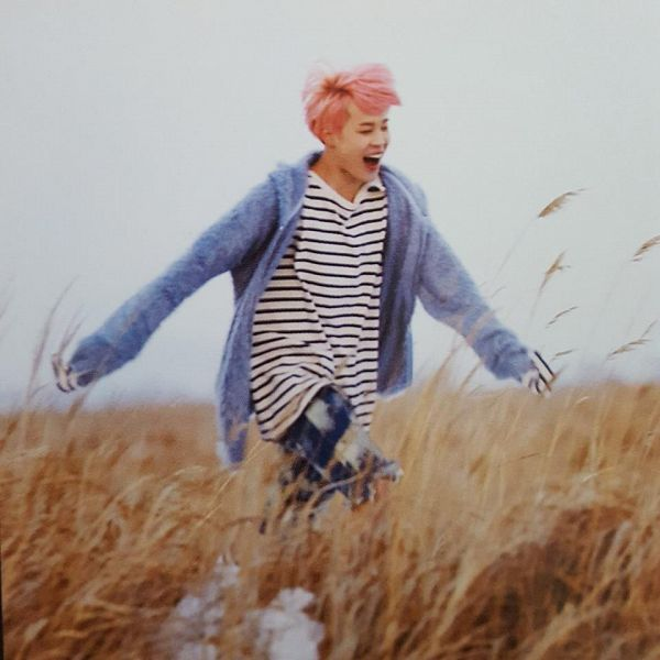 Tags: K-Pop, BTS, Spring Day, Park Jimin, Fur, Striped, Blue Outerwear, Blue Jacket, Striped Shirt, Grass, Pink Hair, Running