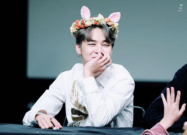 Tags: K-Pop, BTS, Park Jimin, Flower Crown, Crown, Gray Hair, Flower, Animal Ears, Arm Support, Table, Pen, Ring