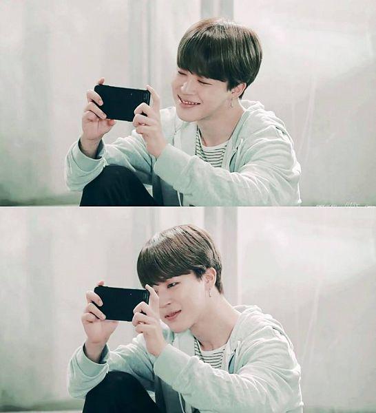 Tags: K-Pop, BTS, Park Jimin, Black Pants, Grin, Black Eyes, Collage, Looking at Phone, Phone, Smartphone